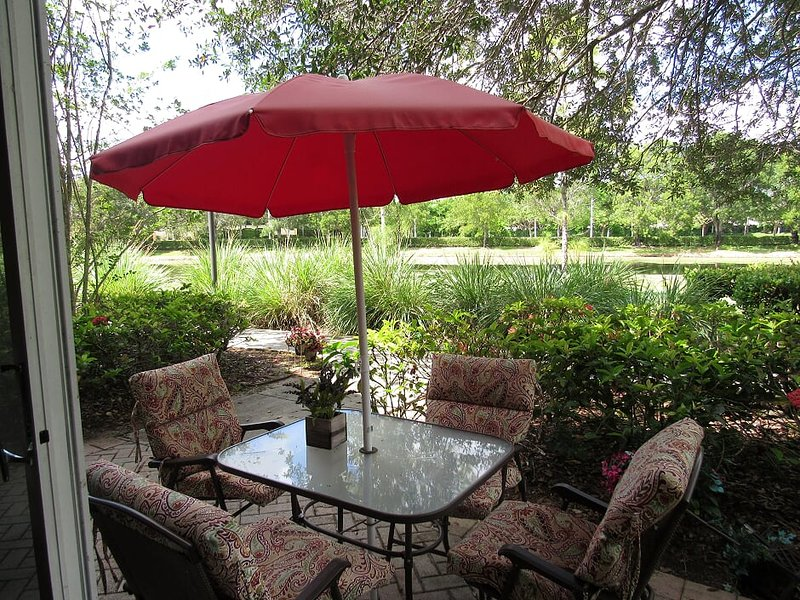 Patio With Barbecue Gas Grill, Beautiful Lake And Park View