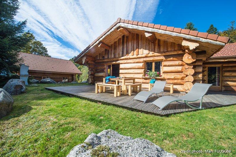 5. Superbe chalet rondins 4/6 p, 2 ch, 65m², calme, holiday rental in Wildenstein