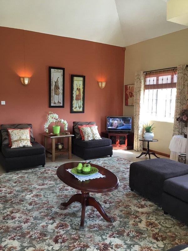 Le salon, très chaleureux et confortable, WiFi gratuit, télévision à écran large Très spacieux pour se sentir à l'aise
