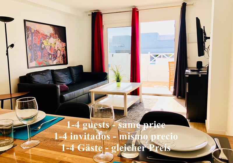 Apartamento Mariposa con piscina, Smart-TV & Wifi, solo 200m de la Playa Concha, alquiler vacacional en Playa del Cable