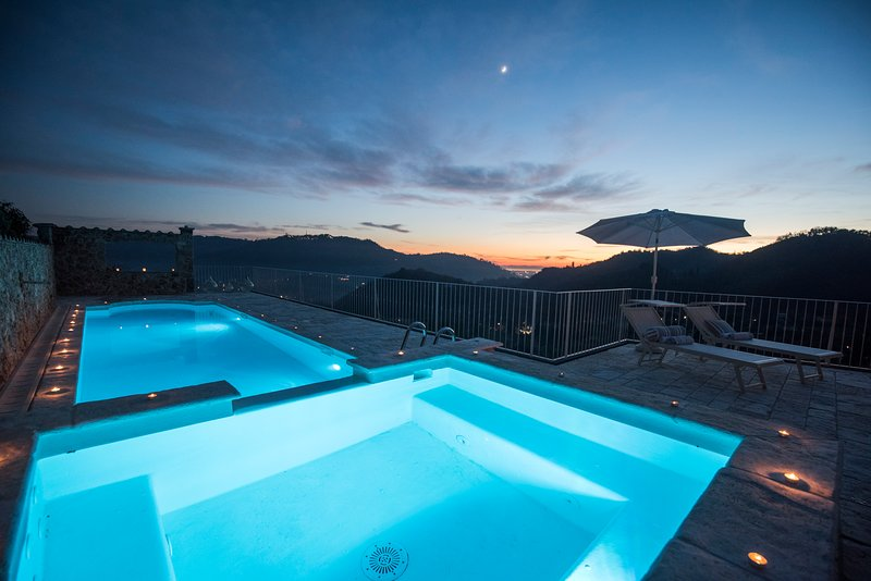 Swimming pool, sea, view, nature, landscape, countryside
