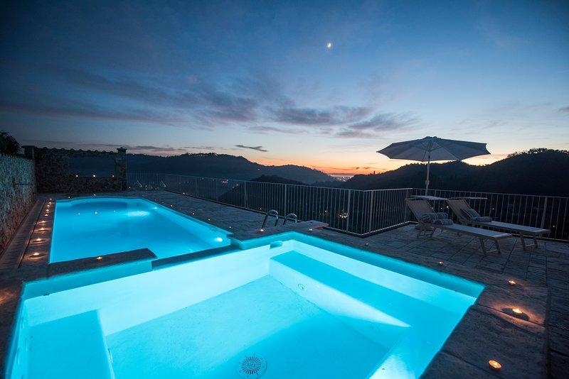 Charming villa in the hills with private pool, sea view, dreamy landscape, vacation rental in Monteggiori