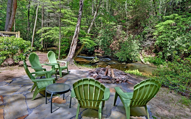 stone patio and fire ring only a few easy steps from the creek