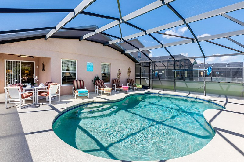 Lovely large pool deck with private pool and plenty of seating