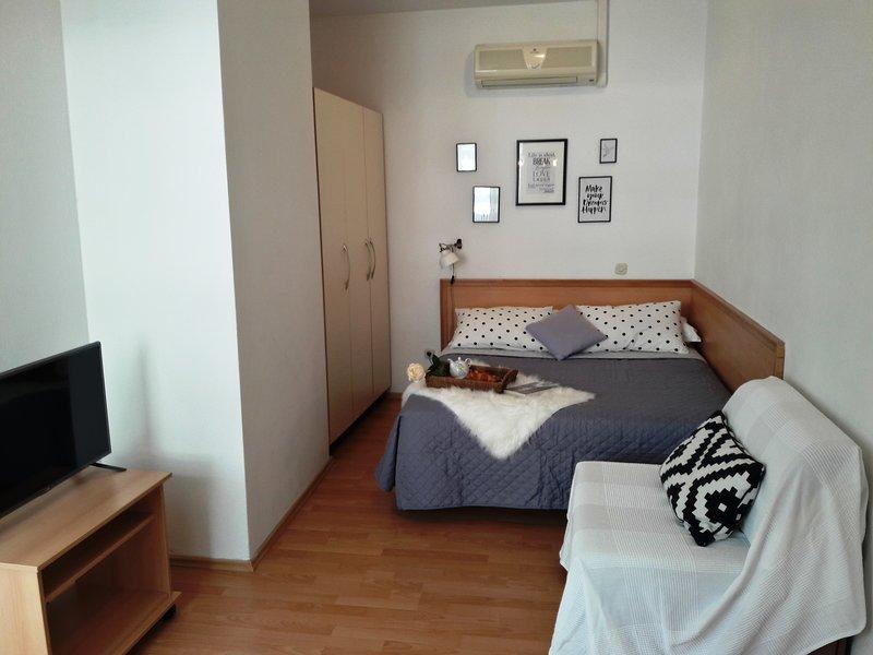 Studio apartments sa privatnim ulazom,vrlo prostran i prozračan,nema izdvojen balkon.Pogled planina.