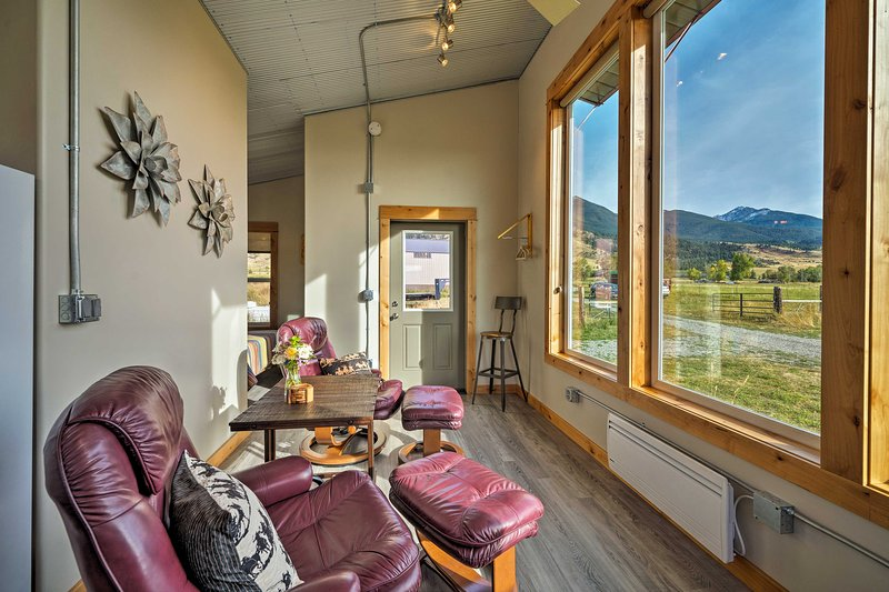 These 3' x 8' windows offer stunning views overlooking the ranch.