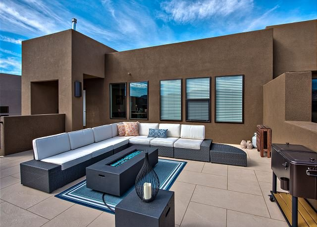 Front Patio with Outdoor Fireplace and Furniture
