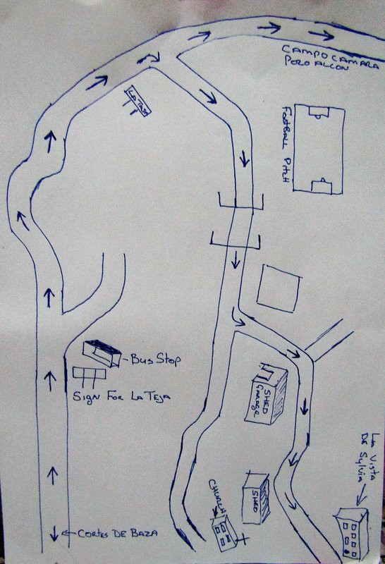 a drawing of directions to house