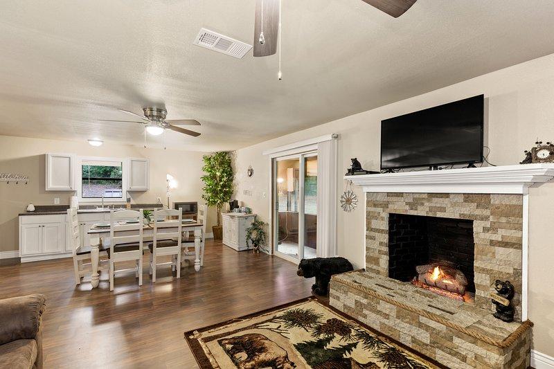 Salon avec cheminée à gaz ventilée