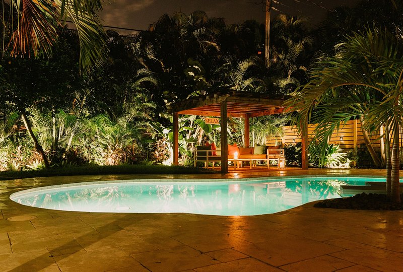 G VVPool & Garden at Night 1