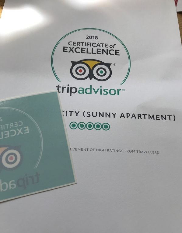 '5-Stars' Certificate of Excellence by TripAdvisor awarded to Sunny Apartment