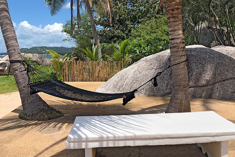 beachfront terrace with hammock