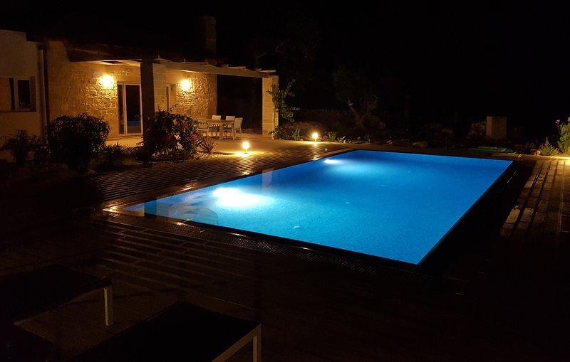 Pool & terrace at night