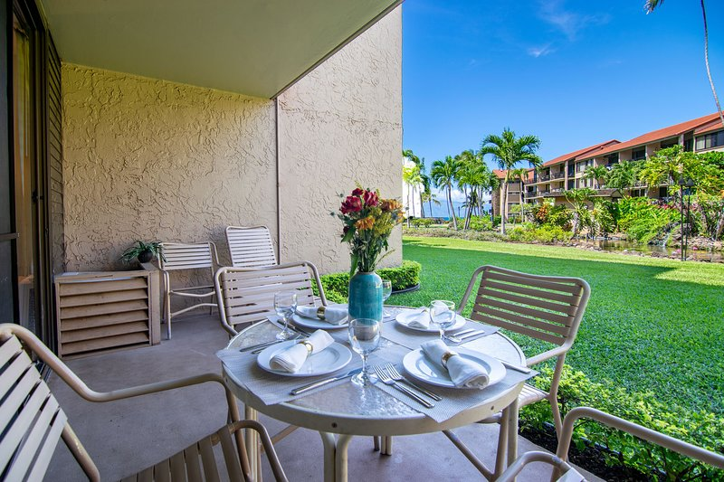 Enjoy your own private lanai just steps from the lush grounds and ocean front at Papakea Resort