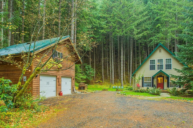 Enjoy the peace and beauty of 3.7 acres of wooded forest.