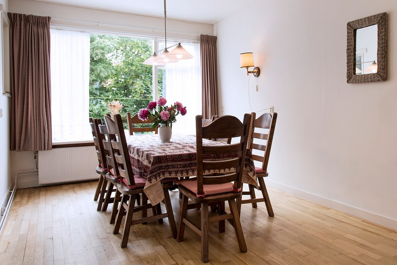 Dining room with table for 12 people.