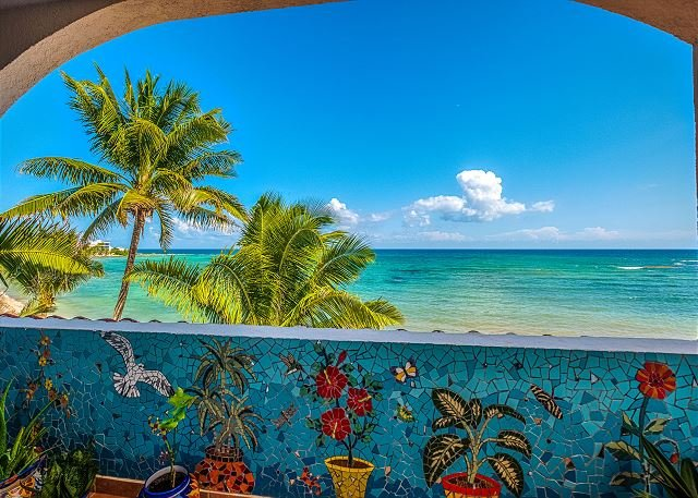 Balcony with a view of the Caribbean