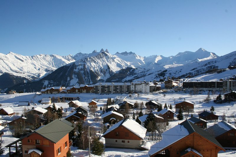 Stunning views facing south of La Toussuire from the apartment