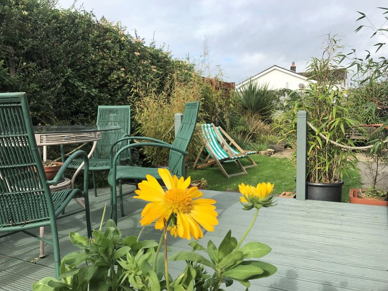 Enjoy a meal with views towards the garden and decking area