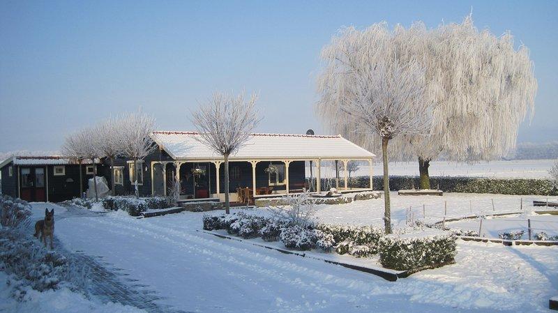 La cabaña de Meerie en el invierno en la nieve.