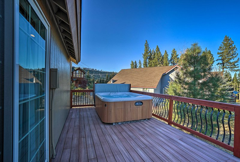 Breathe in the fresh mountain air while soaking in the brand new hot tub!
