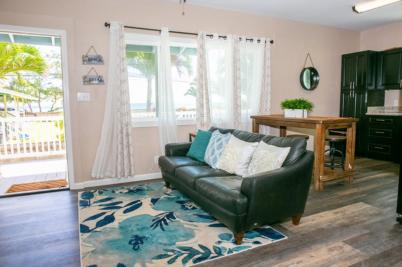 Our cottage features an open concept living/dining/eating space. With decoration that mimics outside