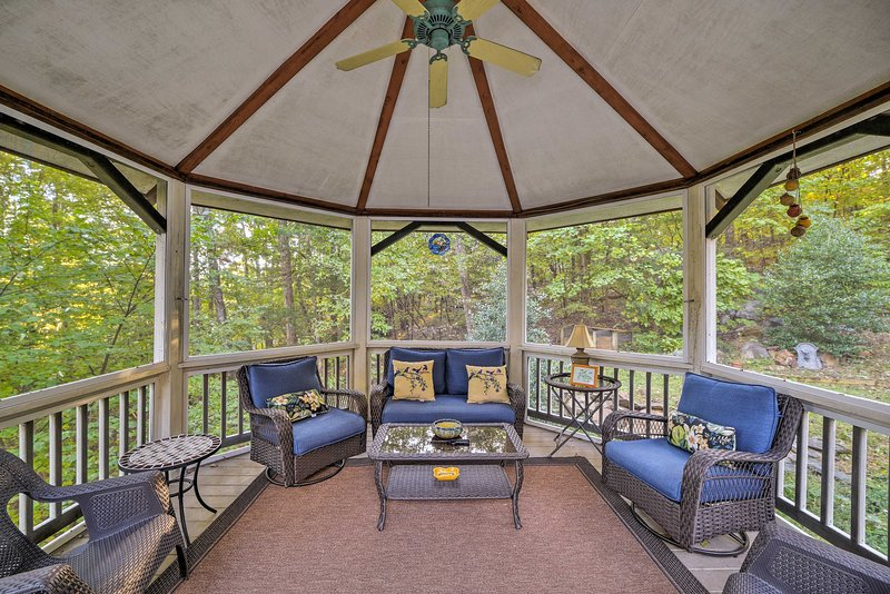You'll find this vacation rental house nestled in the Blue Ridge Mountains.