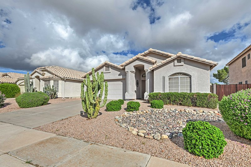 This gorgeous vacation rental unit is located on a golf course in Gilbert.