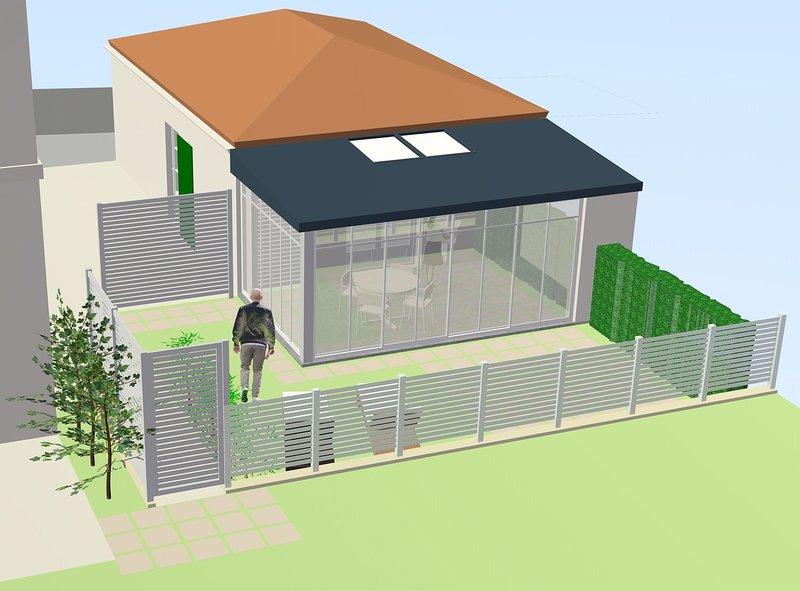 Nueva configuración con adición de una veranda y extensión de jardín. Fin de trabajo abril 2019.