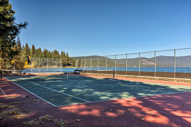 The tennis courts sit right off the water.