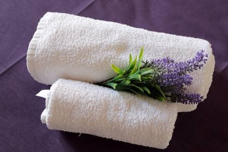 three linens for the bathroom, three of a kind per guest