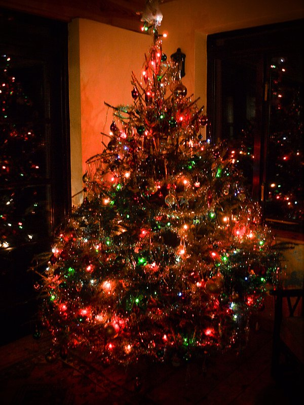 The house interior decorated for Christmas, including a real 7ft Christmas tree!