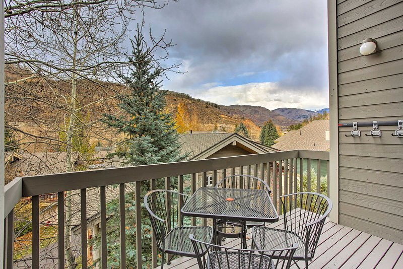 Admire beautiful mountain views from this 3-bed, 3-bath getaway that sleeps 8-9.