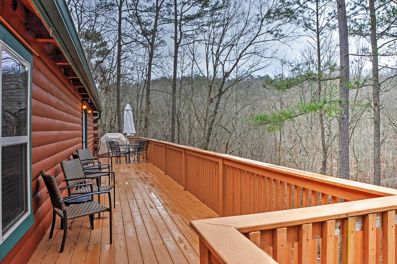 Take in the wooded views and grill out on the deck.