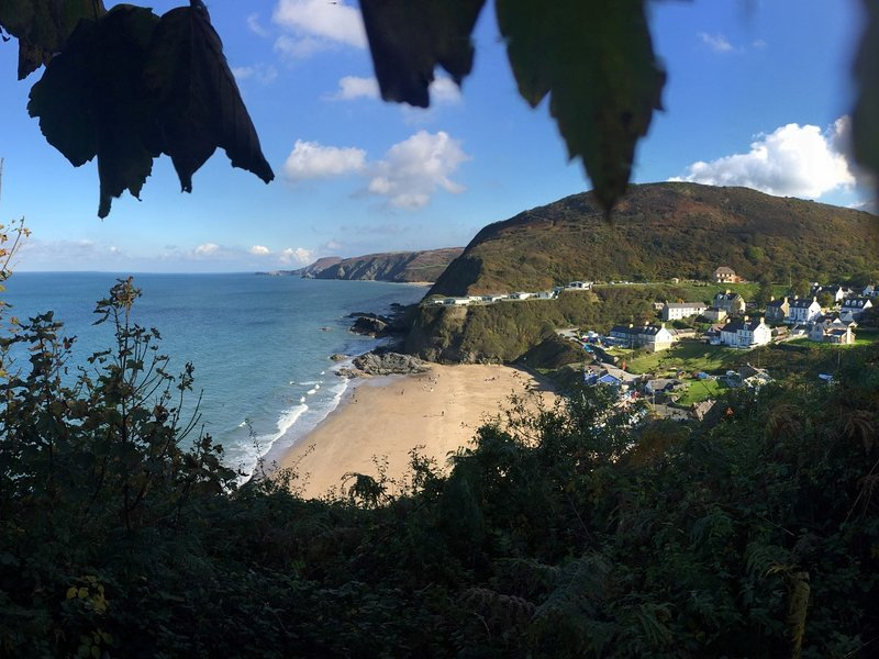 Tresaith looking replendent on a sunny day from this elevated position