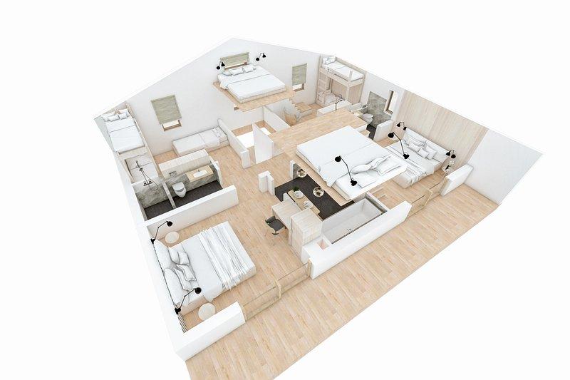 Plantas 3D de piso superior com os quartos do sótão