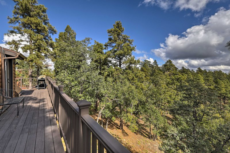 Stunning forest and mountain vistas await at this vacation rental.