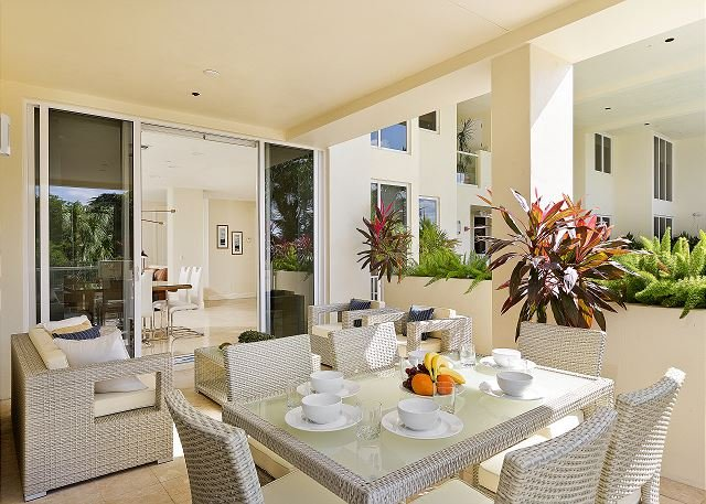 Enjoy your breakfast at the condo on the outside patio