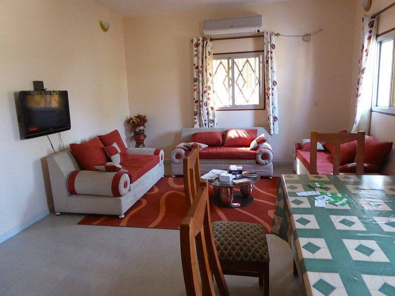 Dining/sitting room with TV (channels available by purchasing a card locally)