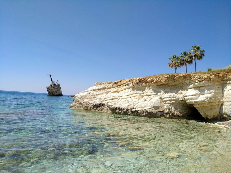 The stunning wreck of Edro III is only a short drive from villa Nayia!