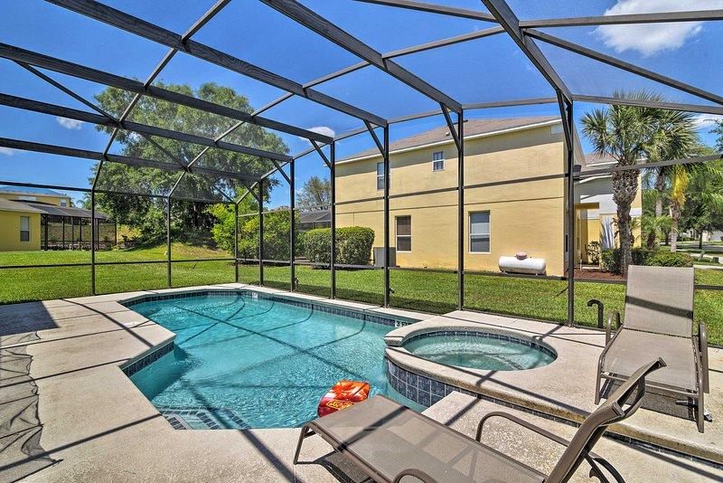 This vacation rental villa boasts a pool, patio and hot tub in the lanai!