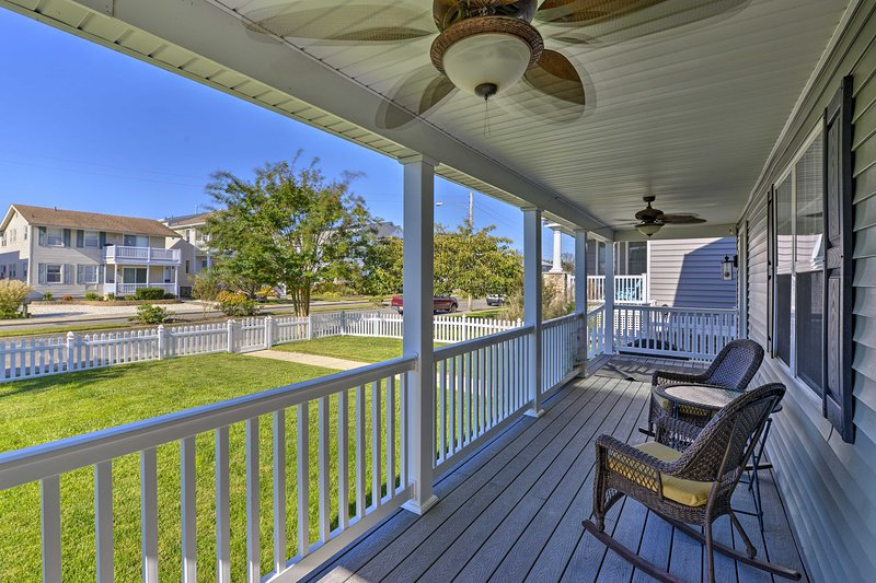 Enjoy morning coffees on the front porch while breathing in the salty air.