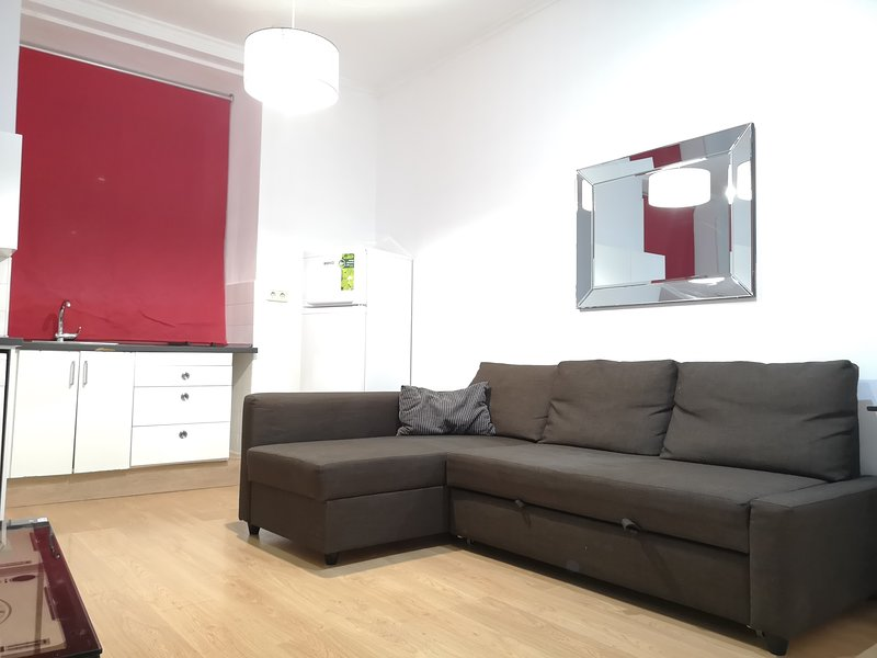 Living room with double sofa bed.