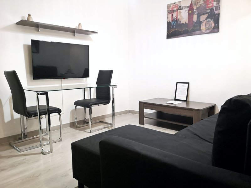 Living room with dobles sofa-bed and TV