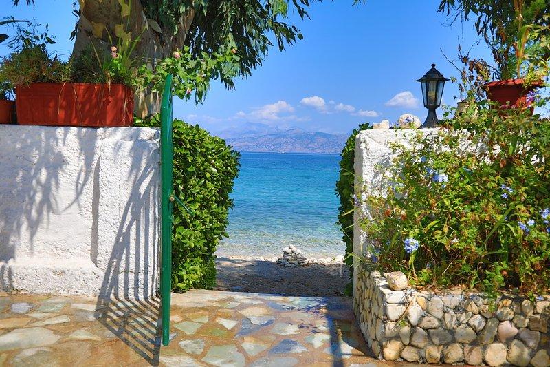 Varvara: On the Beach, A/C, Garden, Sea Views, holiday rental in Avlaki