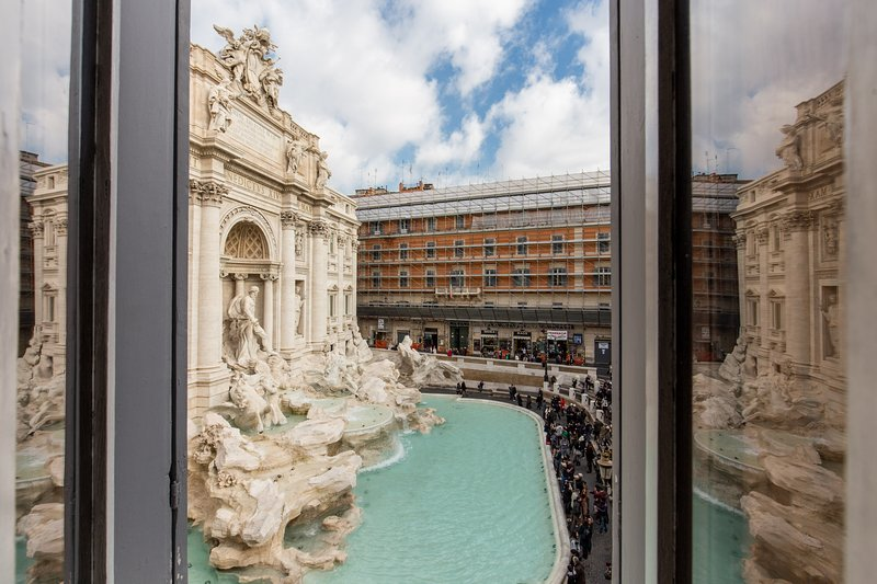 Stunning view of Trevi Fountain from living room and 1st bedroom