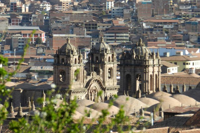 from window - panorama the roofs of the cathedral in plaza de armas
