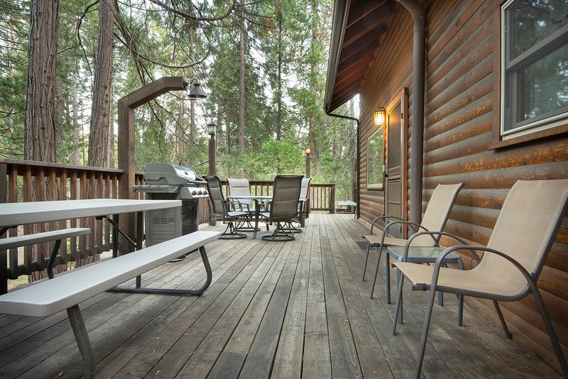 Side view of cabin, refinished deck with beautiful outdoor lighting and gas grill BBQ.