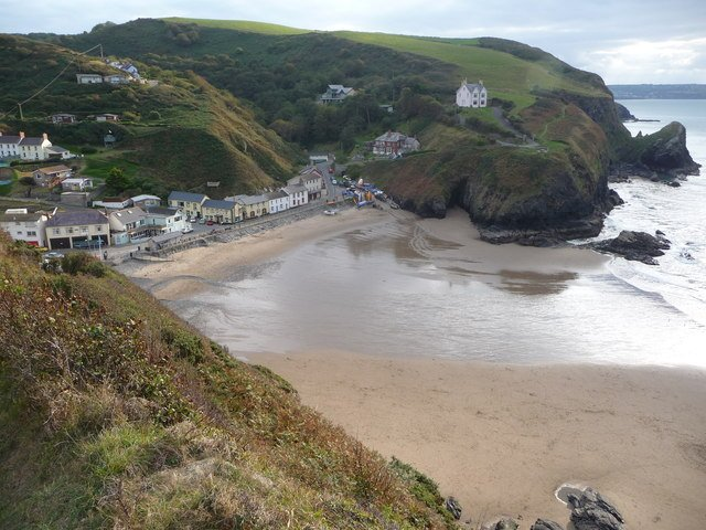 The rugged coastline of Llangrannog with its beach-side cafe!