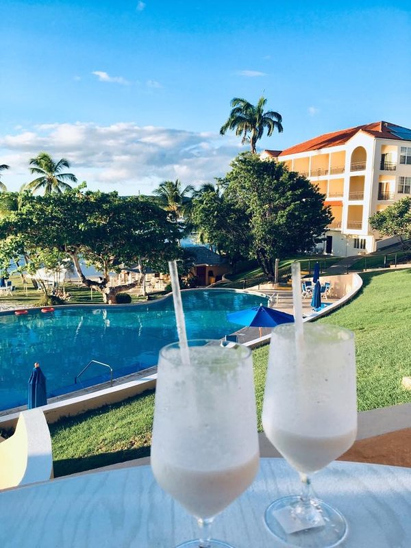 Sundowner at our local bar. The University Club, Horseshoe beach.  Short walk from Grenada Villa
